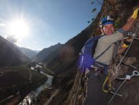 via ferrata to skylodge Sacred Valley Peru